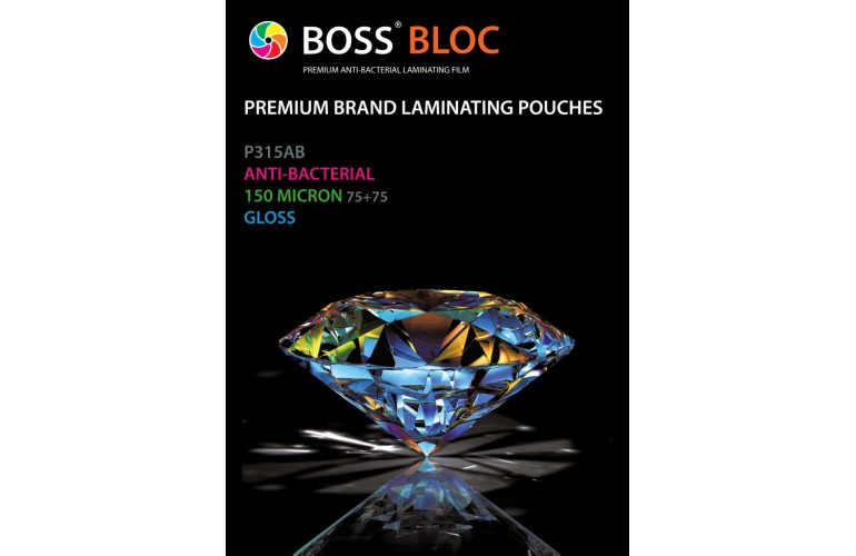 BOSS Bloc Anti-Bacterial Laminating Pouches A4 Gloss